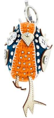 Burberry Embellished Multicolor Keychain Orange Embellished Multicolor Keychain