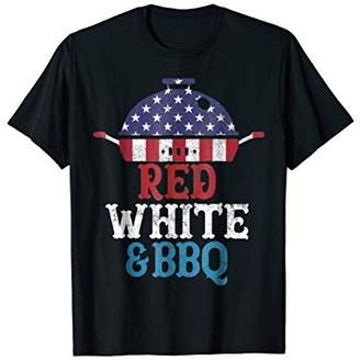 4TH OF JULY T Shirt For Dad RED WHITE & BBQ Grill USA Men