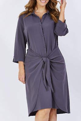 NEW bird by design Womens Knee Length Dresses The Tie Front Shirt Dress Grey