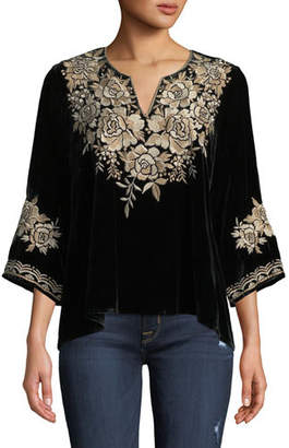 Johnny Was Ollena Floral-Embroidered Velvet Top, Petite