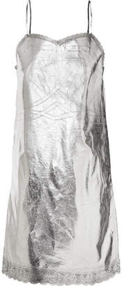 MM6 MAISON MARGIELA Metallic Lace-trimmed Coated-shell Dress - Silver