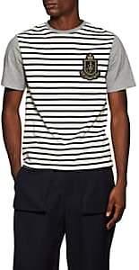 J.W.Anderson Men's Colorblocked-&-Striped Logo Cotton T-Shirt - Light Gray