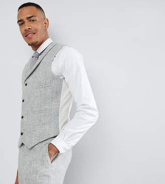 Asos DESIGN TALL Slim Suit Vest in 100% Wool Harris Tweed Herringbone In Light Gray