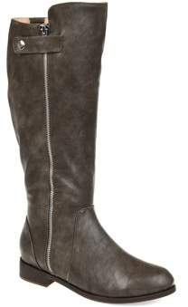 Brinley Co. Womens Comfort Extra Wide Calf Side Zipper Riding Boot