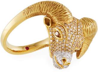 Roberto Coin 18k Diamond Pavé Ram Ring, Size 6.5