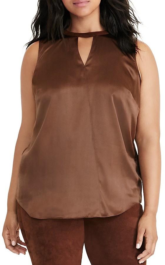 Lauren Ralph Lauren Plus Silk & Suede Sleeveless Top