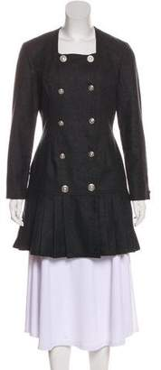 Versace Virgin Wool Pleat-Accented Dress