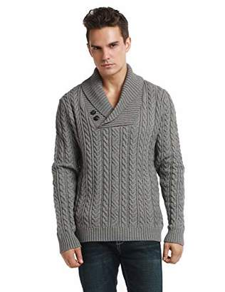 Lynz Pure Men's Sweater Shawl Collar Cable Knit Pullover Knitwear M
