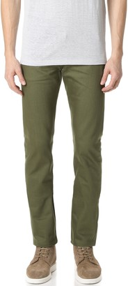 Naked & Famous Denim Weird Guy - Khaki Green Selvedge Chino Jeans