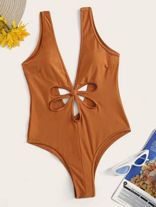 ecf7fe168e Shein Double V-Neck Cut-out Front One Piece Swimsuit