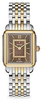 Michele Women's Deco II Mid 40 Diamond, Mother-Of-Pearl & Two-Tone Stainless Steel Bracelet Watch