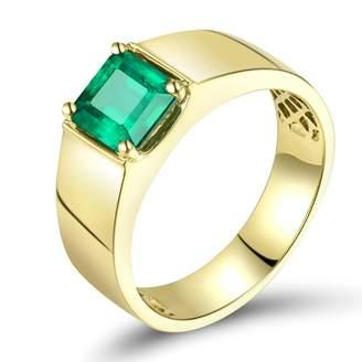 Columbia Lanmi 1.4CT Genuine Natural Emerald 14K Yellow Gold Engagement Ring for Men