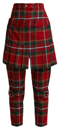 Burberry Tartan Wool Blend Kilt Trousers - Womens - Red Multi