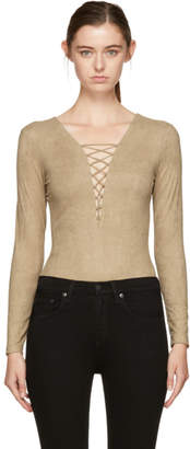 Alexander Wang Tan Faux-Suede Lace-Up Bodysuit
