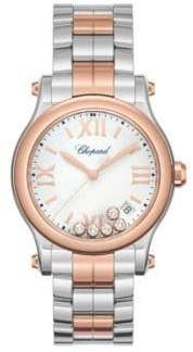 Chopard Happy Sport Diamond, 18K Rose Gold& Stainless Steel Bracelet Watch