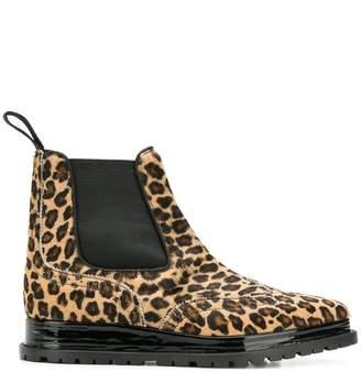 Sacai leopard print chelsea boots