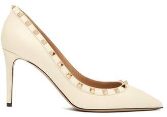 Valentino Rockstud Grained Leather Pumps - Womens - White