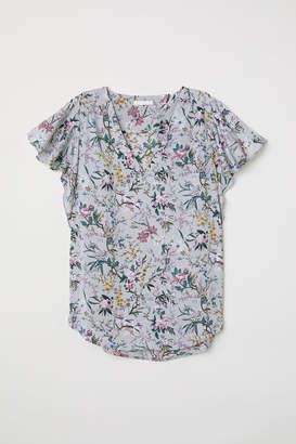 H&M Short-sleeved Satin Blouse - Gray