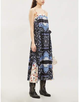 Sandro Contrast-panel floral satin-twill dress