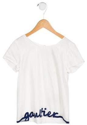 Junior Gaultier Girls' Short Sleeve Logo Top w/ Tags