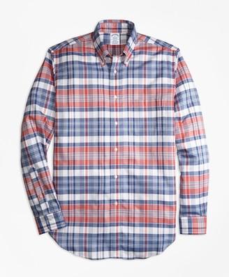 Brooks Brothers Regent Fit Oxford Madras Plaid Sport Shirt