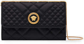 Versace Icon Quilted Leather Wallet on Crossbody Chain