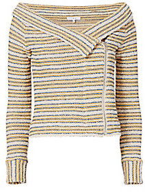 IRO Vana Striped Off-The-Shoulder Knit Jacket $398 thestylecure.com