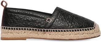 Loewe 20mm Logo Embossed Leather Espadrilles