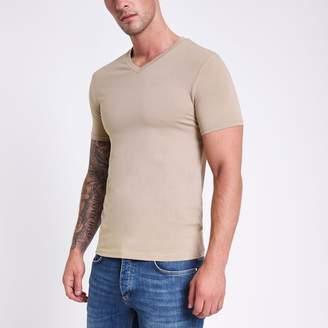 River Island Mens Light Brown muscle fit V neck T-shirt