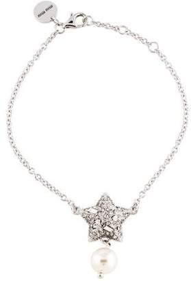 Miu Miu Crystal Star & Faux Pearl Charm Bracelet
