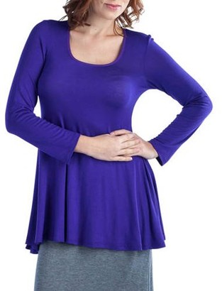 24/7 Comfort Apparel Women's Plus Size Less is More Long Sleeve Tunic