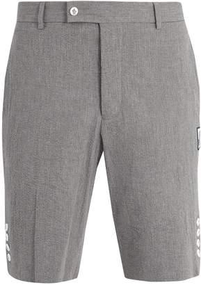 Moncler Gamme Bleu Slim-leg cotton-seersucker shorts