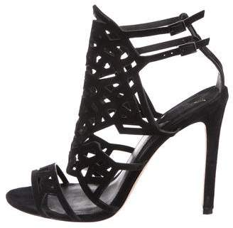 Brian Atwood Suede Laser-Cut Sandals