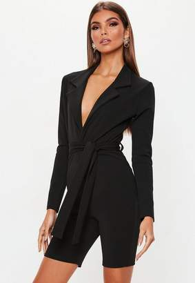 Missguided Black Blazer Style Unitard
