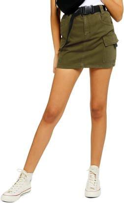 Topshop Utility Denim Miniskirt