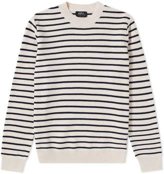A.P.C. Richard Stripe Cotton Crew Knit