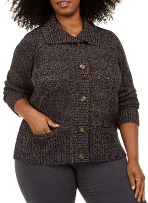 Karen Scott Plus Textured Button-Front Cardigan
