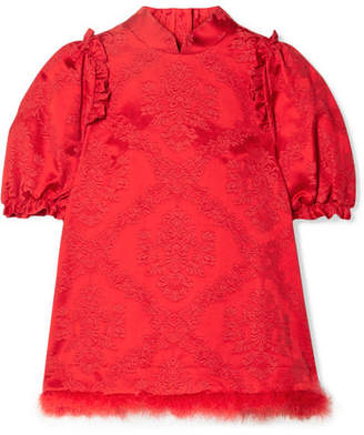 Simone Rocha Feather-trimmed Cotton-blend Brocade Blouse - Red