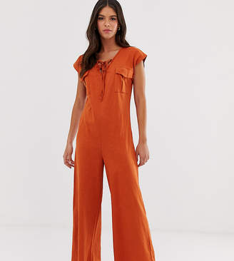 Asos Tall DESIGN Tall lace up pocket detail casual jumpsuit