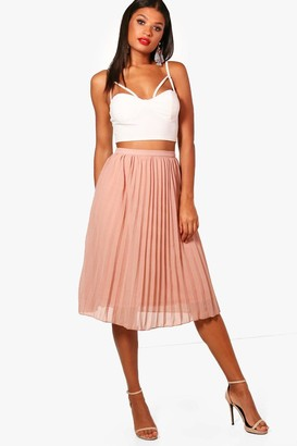 boohoo Chiffon Pleated Midi Skirt