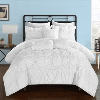 Chic Home 10-Piece Grantfield Floral Pinch Pleat Ruffled Designer Embellished Queen Bed In a Bag Comforter Set White With sheet set