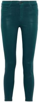 J Brand Cropped Coated High-rise Skinny Jeans