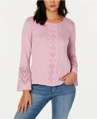 Style&Co. Style & Co Cotton Eyelet Top
