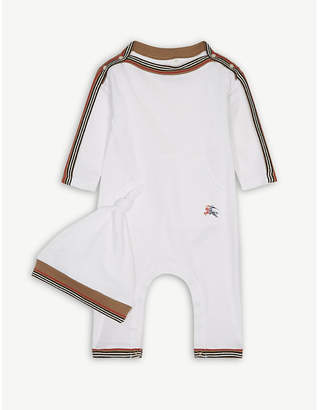 Burberry Striped cotton sleepsuit and hat set 1-12 months