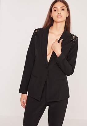 Missguided Lace Up Shoulder Blazer Black