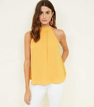 New Look Yellow Gathered Halterneck Top