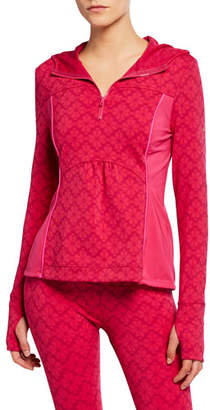 Kate Spade Floral Spade Half-Zip Hooded Active Jacket