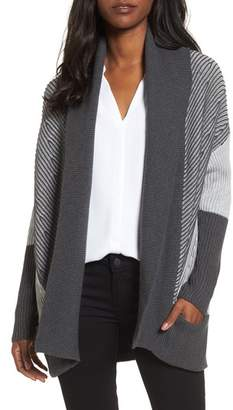 Chaus Colorblock Open Front Cardigan