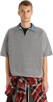 Fear Of God Cotton Blend Polo Shirt W/ Denim Collar