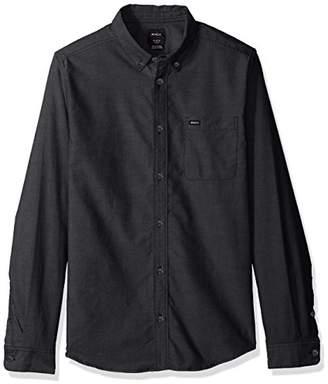 RVCA Men's Oxford Long Sleeve Button Down Shirt